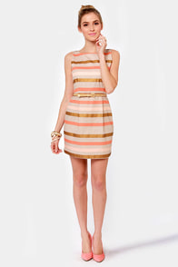 BB Dakota Delaine Beige Striped Dress at Lulus.com!