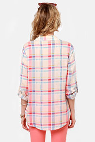 Plaid to the Bone Pink Plaid Top at Lulus.com!