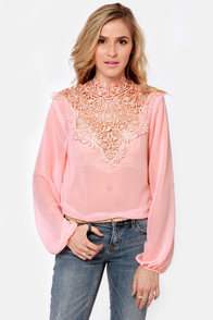 Fancy Meeting You Pink Lace Top at Lulus.com!