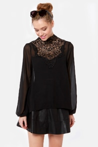 Fancy Meeting You Black Lace Top at Lulus.com!