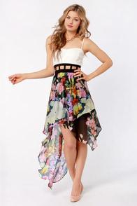 Ro Sham Botanical Black and White Floral Print Dress
