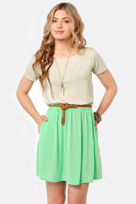 Vent-ner's Reserve Beige and Mint Green Dress at Lulus.com!