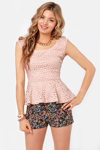 Lace Makes Waist Blush Pink Top at Lulus.com!