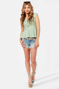 Lace Makes Waist Sage Green Top at Lulus.com!