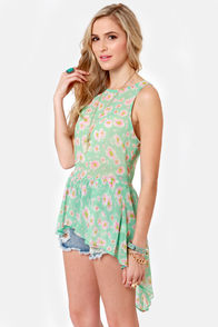 He Loves Me Mint Floral Print Top at Lulus.com!