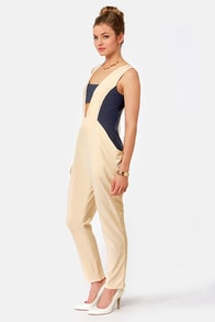 Swagging Rights Navy and Beige Jumpsuit at Lulus.com!