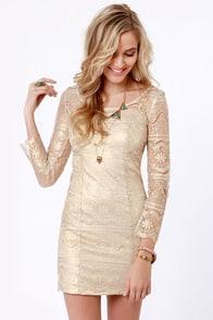 Gold-ness Gracious! Gold Lace Dress
