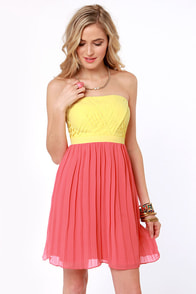 Lemon Ada Strapless Yellow and Coral Pink Dress at Lulus.com!