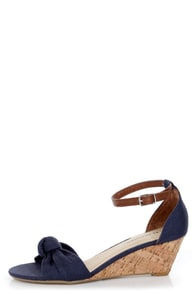 City Classified Rigel Navy Linen Sliver Wedge Sandals