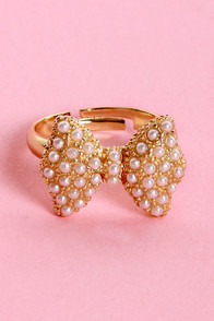All Dressed Up Pearl Bow Ring at Lulus.com!