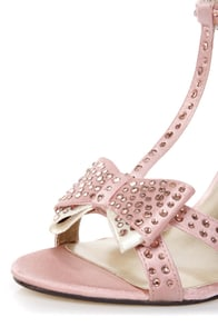 Luichiny Piper Zoe Blush Satin Rhinestone T-Strap Heels at Lulus.com!
