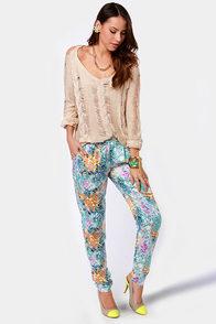 Dressed to Impressionist Blue Print Pants at Lulus.com!
