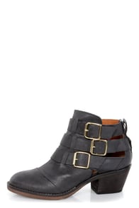 Report Ackley Black Belted Cutout Ankle Boots at Lulus.com!