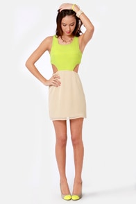 Syrup-dipity Beige and Lime Green Dress at Lulus.com!