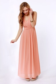 Down to the Laced Detail Dusty Peach Maxi Dress