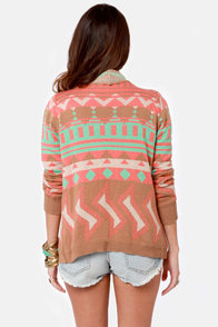 The Southwest of Times Brown Print Sweater at Lulus.com!