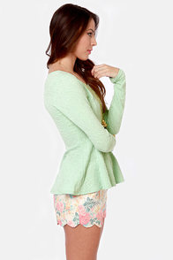 Sweeter Than Heaven Mint Green Peplum Top at Lulus.com!