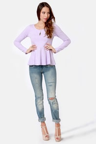 Sweeter Than Heaven Lavender Peplum Top at Lulus.com!