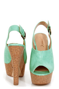 GoMax Tiny Dancer 07 Mint Slingback Peep Toe Clog Platform Heels at Lulus.com!