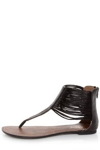 GoMax Berdine 78 Black Strappy Cuffed Thong Sandals