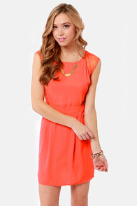 My Good Sides Coral Lace Dress
