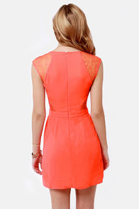 My Good Sides Coral Lace Dress at Lulus.com!