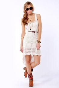 Billabong Open Heart Crocheted Ivory Dress