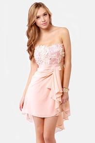 Sash-a-frass Strapless Blush Pink Dress at Lulus.com!