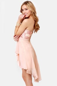 Sash-a-frass Strapless Blush Pink Dress at Lulus.com!