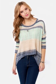 Always Be Cozy Blue Striped Sweater at Lulus.com!