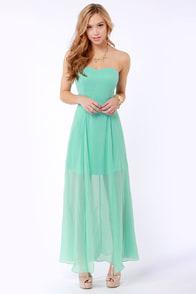 Hit List Strapless Mint Green Maxi Dress