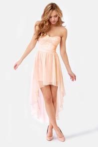 Keep a High-Low Profile Strapless Peach Dress