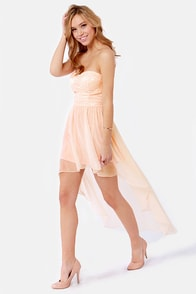Keep a High-Low Profile Strapless Peach Dress at Lulus.com!