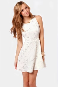 Flitter Sweet Symphony Cream Embroidered Dress at Lulus.com!