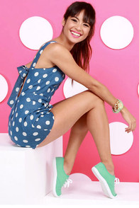 Dot of the Bay Blue Polka Dot Romper at Lulus.com!