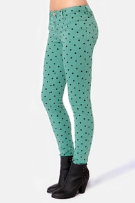 Save Me a Spot Teal Polka Dot Skinny Pants at Lulus.com!