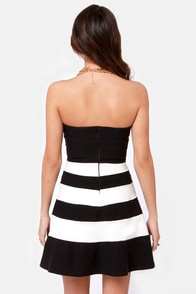 Stripe for Greatness Black and White Striped Dress at Lulus.com!