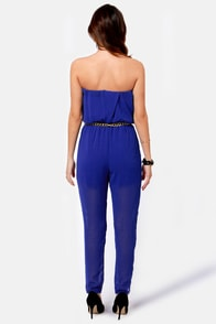 Time for a Chain Strapless Blue Jumpsuit at Lulus.com!