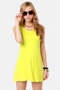 Tank My Breath Away Chartreuse Dress