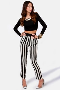 Strong and Silent Stripe Black and White Striped Pants at Lulus.com!