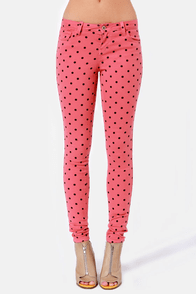 Save Me a Spot Rose Pink Polka Dot Skinny Pants at Lulus.com!