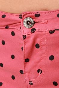 Save Me a Spot Rose Pink Polka Dot Skinny Pants at Lulus.com!