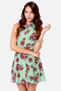 Mink Pink Bad Romance Green Floral Print Dress at Lulus.com!