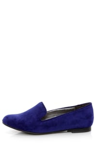 Jojo 01 Blue Smoking Slipper Flats