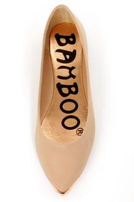 Bamboo Raspy 05 Nude Metal Capped Pointed Flats at Lulus.com!