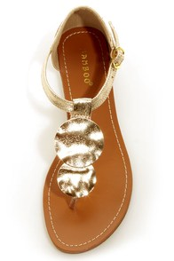 Bamboo Wonderful 12 Gold Metallic Medallion Thong Sandals at Lulus.com!