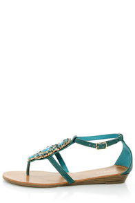Bamboo Wonderful 10 Teal Rhinestone Embellished Thong Sandals at Lulus.com!