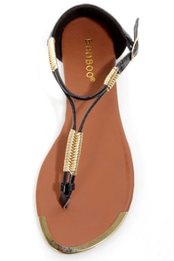 Bamboo Macalen 05 Black and Gold Braided Thong Sandals at Lulus.com!