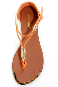 Bamboo Macalen 05 Orange and Gold Braided Thong Sandals at Lulus.com!