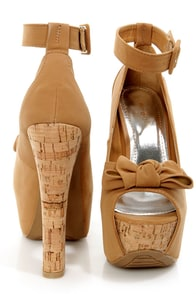 Bamboo Bitten 01 Natural Knotty Bow Peep Toe Platform Heels at Lulus.com!